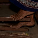 Operating foot pedals of the loom